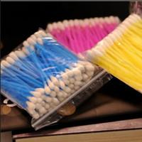 Wholesale Wholesale Cotton Swab Applicators - Wholesale- Candy Colors Disposable Cotton Swab Applicator Q-tip Swabs Plastic Handle Sturdy 2Bags About 100pcs