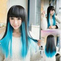 Straight Long Noir Mixte Bleu Deux-Tone Perruque Synthétique Real Hair For Cosplay Party Perruques Avec Bangs Natural Ombre