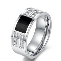 Wholesale R Clustering - Men's Ring Jewelry wholesale Stainless Steel Beauty Crystal Mens Ring With CZ Stone Male Cool Party Jewelry R-066