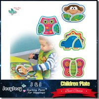 Wholesale Eating Dishes - Sozzy Creative Children's Plate Cartoon Animal Service Plate Appetizer Platter Cute Dishes Baby Sub-grid Eat Tray