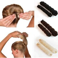 Wholesale Bun Coffee - 2pcs=1pack Hot Buns Fashionable Hair Accessory Sponge Style Bun Maker Hair Roller black coffee beige color with retail package
