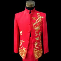 Wholesale Tunic Suits Men - Red Embroidered Chinese tunic Suit wedding performance show Suit & Blazer for Mens
