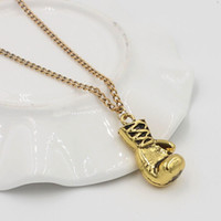 Wholesale Mini Boxing Gloves Wholesale - Wholesale-2016 New Fashion Mini Boxing Glove Necklace Women's Cool Pendant Personality Gold Silver Necklace fantaisie N450