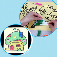Wholesale Building Paintings - Wholesale- 10pcs lot Kids Building Sand Painting Puzzle DIY learning & education Classic toys for children Gifts 16x12cm