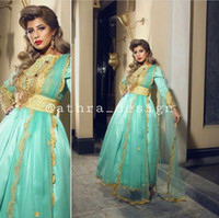 Wholesale Mint Taffeta Dress - 2017 Prom Dresses Middle East Caftan Gold over Mint Green A Line Bateau Neckline Long Sleeeves With Tulle Sash