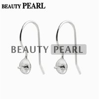 Wholesale earwire earrings - 10 Pairs Earwire 925 Sterling Silver Jewellery Findings Fishhook with Cap and Peg for Half Drilled Pearls