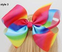 Wholesale Rainbow Dance - 4 style ! 8inch Spring clip bow JOJO SIWA LARGE RAINBOW HAIR BOW DANCE HAIRBOW CHEERLEADER BIG BO