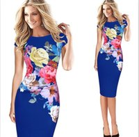 Wholesale Womens Dresses Flowers - MAYFULL Womens Elegant Flower Floral Printed Ruched Cap Sleeve Ruffle Casual party Dress