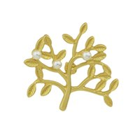Wholesale Small Leaves Plants - Newest Fashion Jewelry Gold Silver Branches and Leaves Design with Small Pearls Brooches for Women