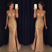 Wholesale Gold Crystals Mermaid Dress - Luxury Gold Mermaid Evening Dresses Long 2017 Side Split Crystal Beas Sequins Spaghetti Deep V-neck Backless Prom Gowns Dresses Evening Wear