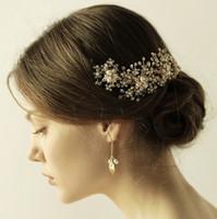 başucu asması toptan satış-Kristal Tiaras Saç Aksesuarları Gelin Altın Çiçeği Saç Vine Için Başlık Boncuklu Düğün Başlığı Gelin Saç Başlıkları CPA905