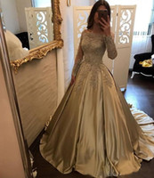 Wholesale Gorgeous Party Dresses - 2018 Gorgeous Off Shoulder Gold A Line Evening Dresses Long Illusion Sleeves Lace Applique Sweep Train Ball Gown Prom Dress Party Gowns