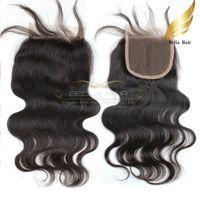 Wholesale Virgin Remy Body Wave Bulk - Brazilian Body Wave Remy Virgin Human Hair Extensions Lace Closure Weaves Free Part Natural Color Hot Bulk Wholesale