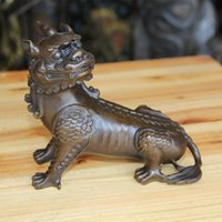 Wholesale Bronze Foo Dogs - Collect Chinese Feng Shui Bronze Lion Fu Foo Dog Guardian Beast Statue home decoration
