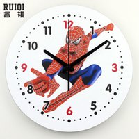 Wholesale Cartoon Wall Watches - Wholesale- absolutely silent quartz spider man 3d wall clock children room home hours modern watch wall gift relogio de parede infantil