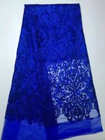Wholesale Dress French Blue - 5 Yards pc hot sale royal blue embroidery french net lace fabric african mesh lace for party dress DP22-5