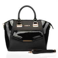 2017 New Woman Handbags Fashion Trapeze Fine Dress Totes Patent PU Leather Sociality Senhoras Bolsas de ombro à venda Preto de alta qualidade SY1574
