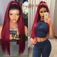 Wholesale Long Straight Red Wigs - Fashion Sexy Ombre Wine Red Long Silky Straight Synthetic Lace Front Wig Glueless Dark Root Two Tone Color Heat Resistant For Black Women