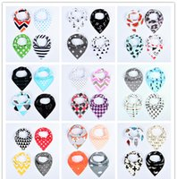 Wholesale Baby Clothing Bibs - 4pcs Baby waterproof triangle towel bibs Pure cotton girls boys double layer triangular towel Drool Bib burp clothes 28style