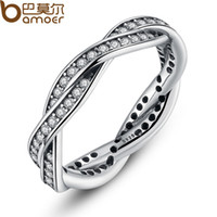 Wholesale Fate Rings - yizhan BAMOER 8 STYLE BRAIDED PAVE ,LEAVES My Princess Queen Crown SILVER RING Twist Of Fate Stackable Ring Jewelry for Women Party