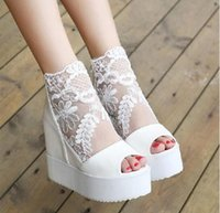Wholesale Sexy Pump Heel Wedge Boots - Sexy wedge sandal silver white lace wedding boots high platform peep toe ankle boots Size 4-8