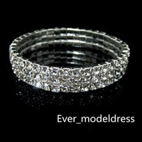 Wholesale Low Price Wedding Dresses - Sliver 3 Row Rhinestone Bangle Wedding Bracelets Bridal Jewelry Cheap Bracelet for Wedding Party Evening Prom Dress hot sale low price