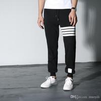 kahverengi pantolon toptan satış-Toptan-yeni özel dağıtım THOM BROWN klasik kırmızı ve mavi çizgili dokuma katlama takım dimi pantolon Pantolon Kırpılmış