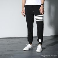 Wholesale Cotton Crop Trousers - Wholesale- new exclusive distribution THOM BROWN classic red and blue striped webbing folding tooling twill trousers Cropped Pants