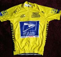 sarı döngüsel kollu toptan satış-2019 Birleşik Devletleri posta USPS sarı bisiklet Jersey nefes bisiklet formaları Kısa kollu yaz hızlı kuru kumaş MTB Ropa Ciclismo B34