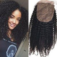 ingrosso seta afro-Chiusura dei capelli peruviana con i capelli del bambino Afro crespo ricci base chiusura superiore 100% capelli umani 8-22 pollici FDSHINE