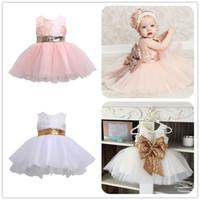 ingrosso regali di compleanno veste ragazze-Mikrdoo Sweet Princess Dress Bambini Baby Girl senza maniche Tutu da sera Tule Abiti First Birthday Gift Abiti da cerimonia per feste formali