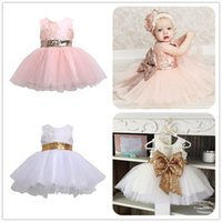 paño de cumpleaños para niños al por mayor-Mikrdoo Sweet Princess Dress Kids Baby Girl sin mangas Tutu Tule vestidos de noche primer regalo de cumpleaños Formal Wedding Party Wear Clothes