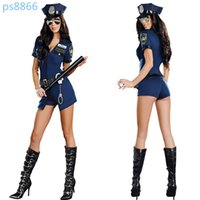 Wholesale Sexy Cosplay Police - Halloween Sexy Costumes Bodysuits for Women Mardi Gras Party Halloween Costumes Women Games Role Play Police Cosplay Sexy Rompers FS3113