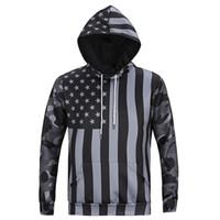 Wholesale Tracksuits Men Usa - Wholesale- Mens Camouflage Hoodies Hip Hop Sweatshirt Harajuku 3D USA Flag Print Jacket Fashion Brand Sweat Homme Tracksuit Unisex Pullover
