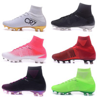 Wholesale Pink Lasers - Men's Mercurial Superfly 4 FG Soccer Shoes Boots High-Top CR7 Cleats Laser Football Sneakers Eur Size 39-45 Free Shipping