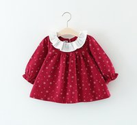Wholesale Top Little Girl Dresses - Lovely Little Girls Star Print Tops 2017 Fall Kids Boutique Clothing Korean 1-4T Baby Girls Lace Collar Long Sleeves Cotton Dresses