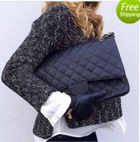 Wholesale Leopard Women S Bags - 58601 Fab Price XLarge Classial 33CM Maxi Black Genuine Caviar Leather Quilted Double Flap Fashion Shoulder Chain Bags Handbags G S Hardware