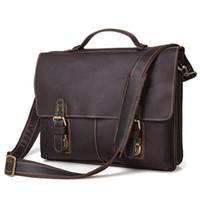 Wholesale Real Crocodile Skin Bags - Nesitu Vintage Dark Brown Real Skin Genuine Leather 14 inch Laptop Men Briefcase Portfolio Messenger bags Shoulder bags #M7090