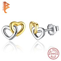 925 Joyas De Plata Esterlina Baratos-BELAWANG 2017 Nueva Moda 100% 925 Sterling Silver Love Heart Stud Pendientes Doulbe Heart Earrings Mujeres Wedding Engagement Jewelry Gift