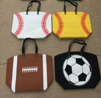 Wholesale Wholesale Handbag Two Tones - Tote Bag Women Handbag Softball Baseball Stitching Bags Baseball Women Cotton Canvas Sports Shoulder Bags Lady Baseball Softball 15 Styles