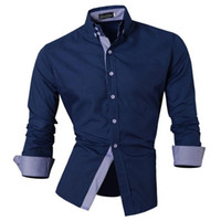 Wholesale Stylish Shirt Dresses - Wholesale- New Mens Casual Shirt Slim Fit Stylish Dress Shirts Long Sleeve Solid Business Formal Shirts Tops Mens Clothing camisa mascula
