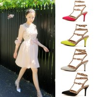Wholesale Three Point Buckle - NEW Designer women high heels party fashion rivets girls sexy pointed shoes Dance shoes wedding shoes rivet Fight color Three straps sandals