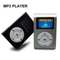Wholesale media player recorders - Wholesale- Metal Clip Mini MP3 Music Media Player LCD Screen with USB Cable Support Micro SD TF Digital Mp3 players(20pcs lot )