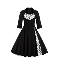 Wholesale Plus Size European Winter Dresses - 2017 Plus Size S-5XL Audrey Hepburn Vintage Style Casual Dresses European Fall Winter Long Sleeves Black Women Clothing FS0955