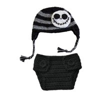 Wholesale Diapers Skulls - Crochet Baby Jack Skellington Costume,Handmade Crochet Baby Boy Girl Skull Hat Diaper Cover Set,Infant Halloween Costume,Newborn Photo Props