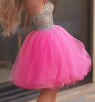 sevgilim tül pembe kısa elbisesi toptan satış-Güzel Sıcak Pembe Kısa Mezuniyet Elbiseleri Sevgiliye Illusion Korse Kristal Tül Balo Gelinlik Modelleri Seksi Kokteyl Parti Elbiseleri