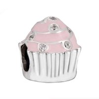 Silver sports cupcakes - Authentic Sterling Silver Bead Charm Pink Enamel Sweet Cupcake With Crystal Bead Fit Women Pandora Bracelet Bangle DIY Jewelry HK3597