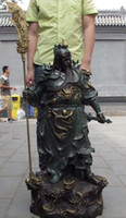 Wholesale 37 quot China Painted Copper Bronze Guan Gong Yu Warrior God Sword Nine Dragon Statue