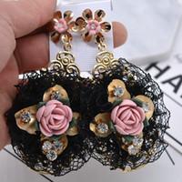 Wholesale Lace Earrings - baroque palace vintga earrings exaggerate joker temperament lace earrings metal flower ceramic pink rose set auger ear drop for women