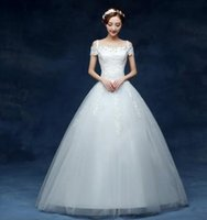 online shopping Lace Short Beach Wedding Dress - 2017, The New Trailing Word Wedding Dress Bbride, Shoulders Korea Smple, Self-cultivation, Large Yards, Trailing Wedding Dress